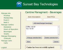 TeeCup Admin Portal. Cantine menu setup.