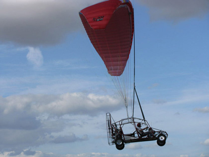 The Maverick is a street-legal vehicle with a pusher prop that flies about 40 mph under a parachute.